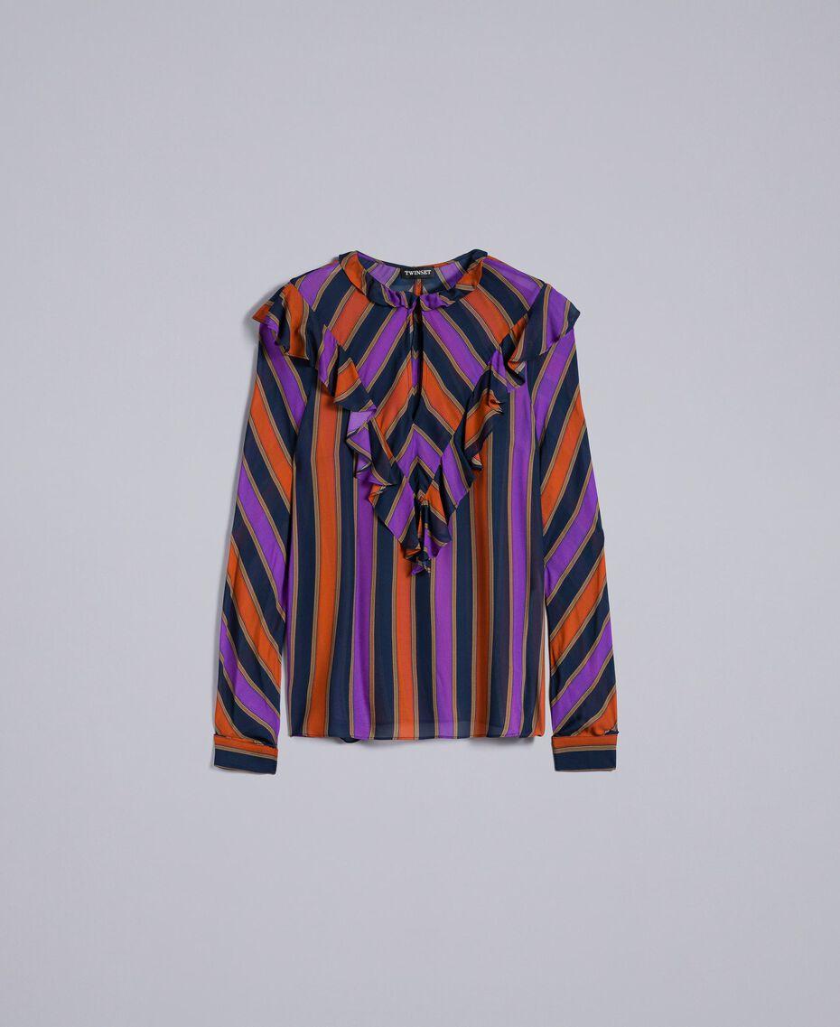 Blusa de georgette de rayas Estampado Raya Multicolor Mujer TA8291-0S