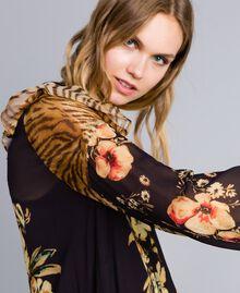 Короткое платье с комбинацией принтов Набивной Комбинированный Цветочный&Тигровый женщина TA825C-04