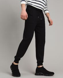 Cotton-blend slub jogging trousers Black Man 191UT3091-02