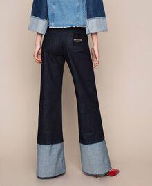 Wide leg jeans with maxi fold Denim Blue Woman 201MP2340-03