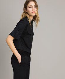 Poplin shirt with lace Black Woman 191TT2238-04