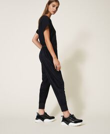 Pantalon en chenille avec strass Noir Femme 202LL2GFF-03