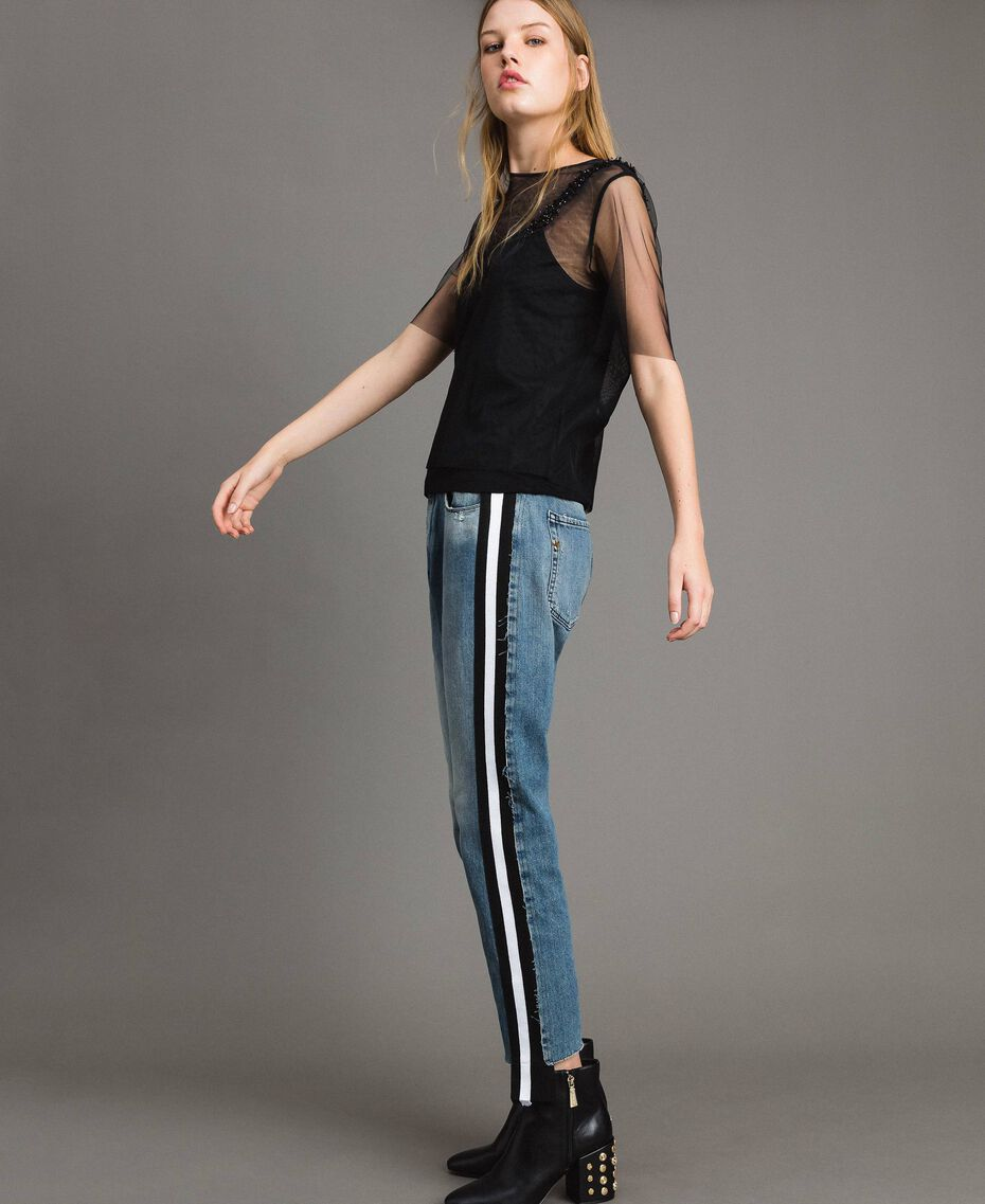 Loose jeans with striped panels Denim Blue Woman 191MP2482-02