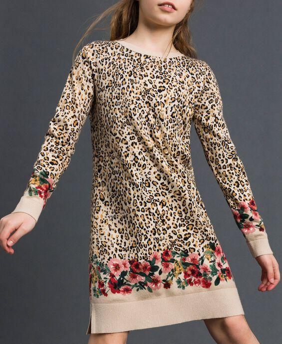 Mini abito in maglia animalier e a fiori