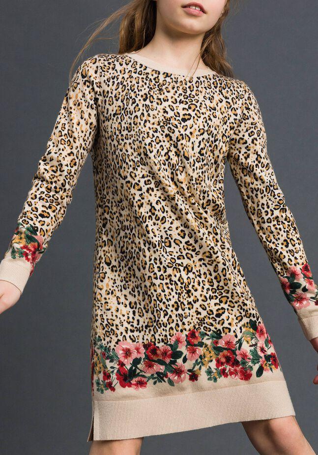 Mini-robe en maille animalière et florale