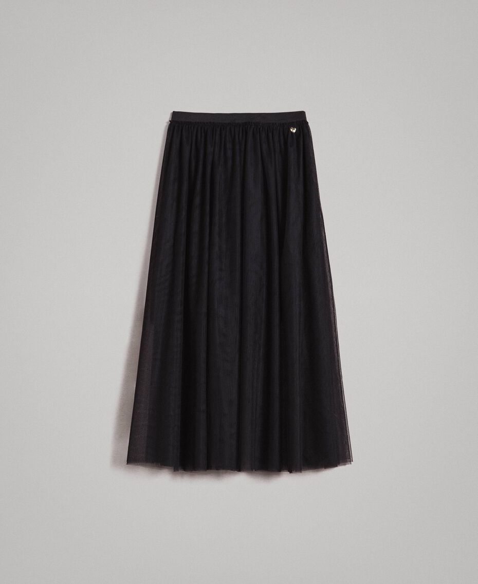 Tulle mid-length skirt Black Woman 191MP2130-0S