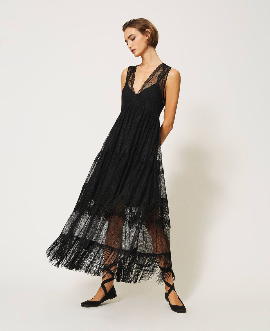 Tulle long dress with lace and fringes Black Woman 202TP2372-01
