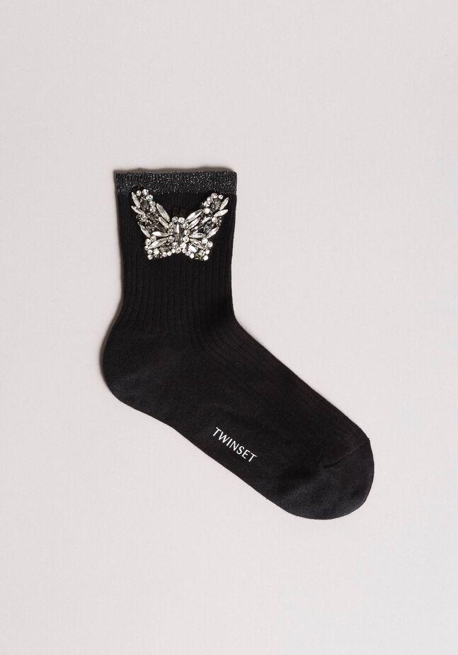 Socken aus Baumwollgemisch mit Schmetterlingsjuwel