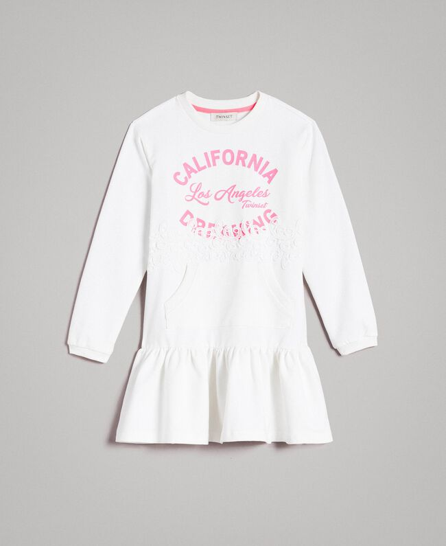 Fleece dress with lace and print White Child 191GJ2042-01