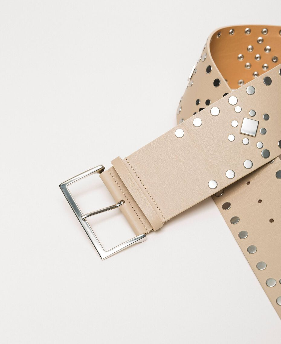 Studded wide leather belt Black Woman 201TO5342-03