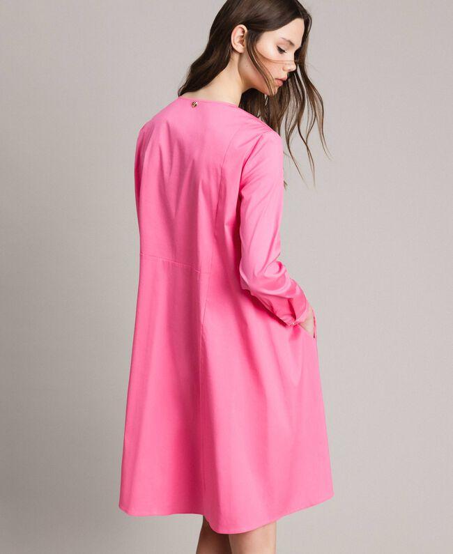 Hemdblusenkleid aus Popeline Rosa Kamelie Frau 191MP2215-05