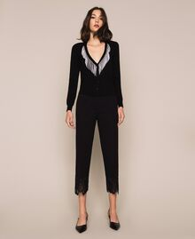 Pantalon avec dentelle Noir Femme 201TP2123-0T
