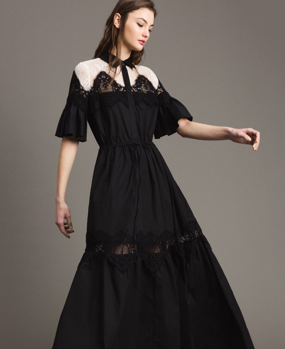Poplin long shirt dress with lace Black Woman 191TT2122-03