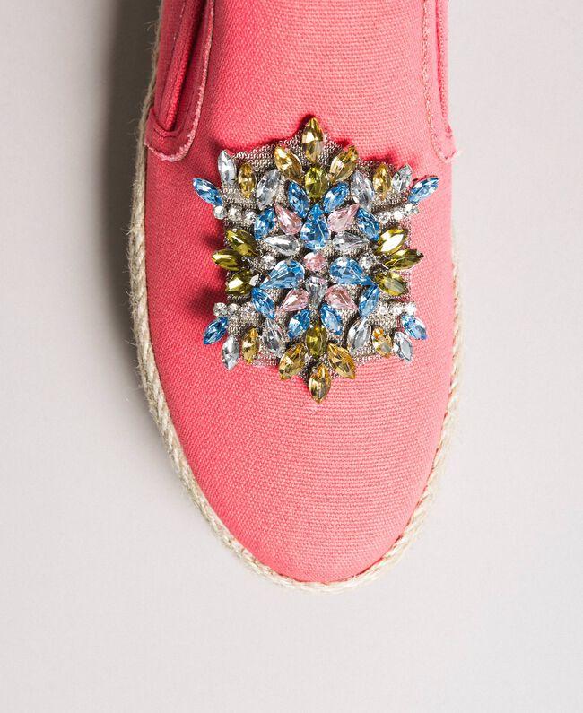 Chaussures slip-on en toile avec pierres Rose Camélie Femme 191MCP038-01