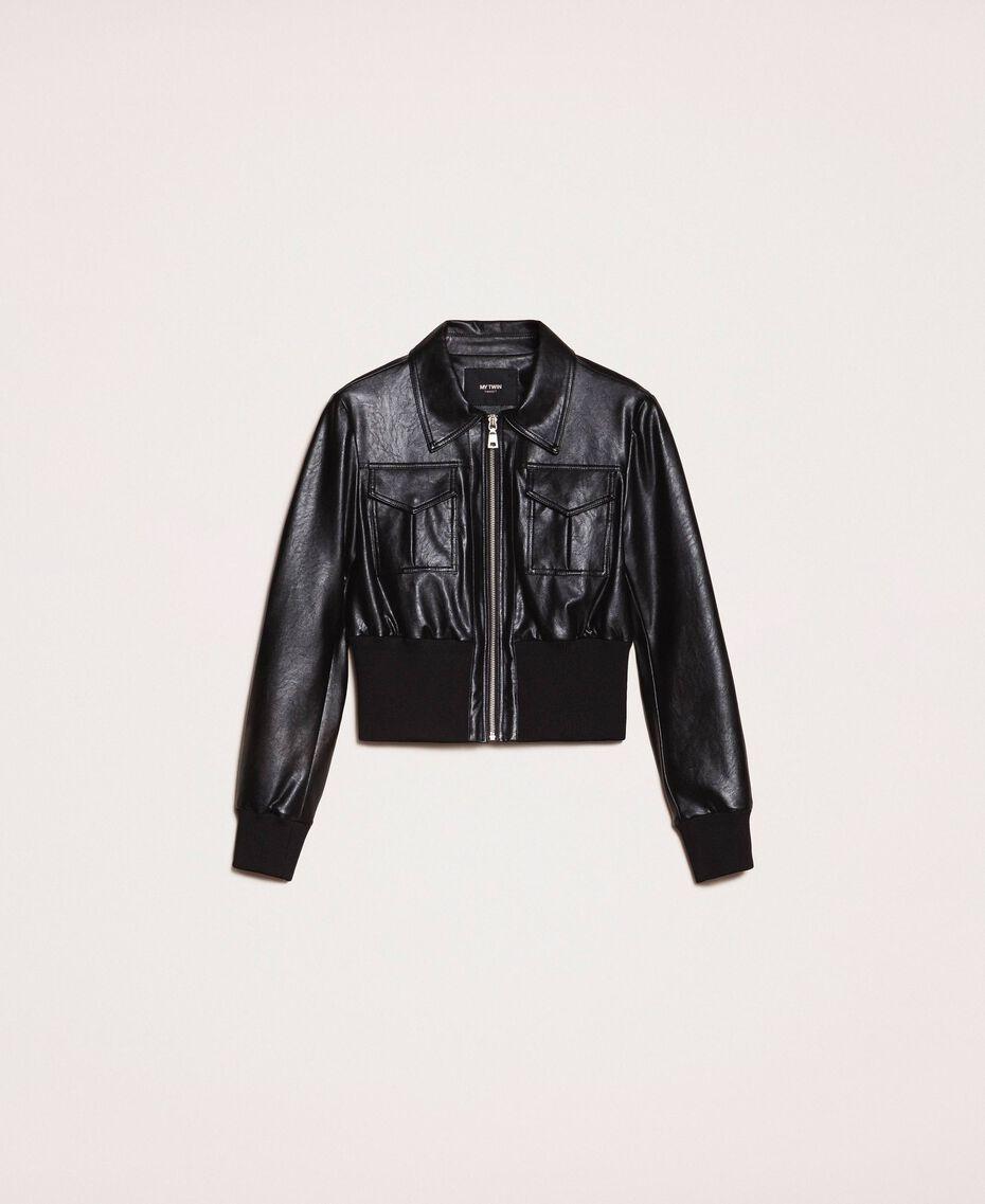 Куртка из искусственной кожи на высоком поясе Черный женщина 201MP2030-0S