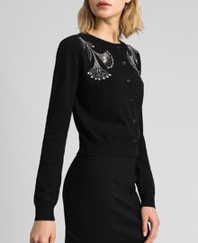 Wool and cashmere Mandarin collar top with floral embroidery Black Woman 192TP3330-02