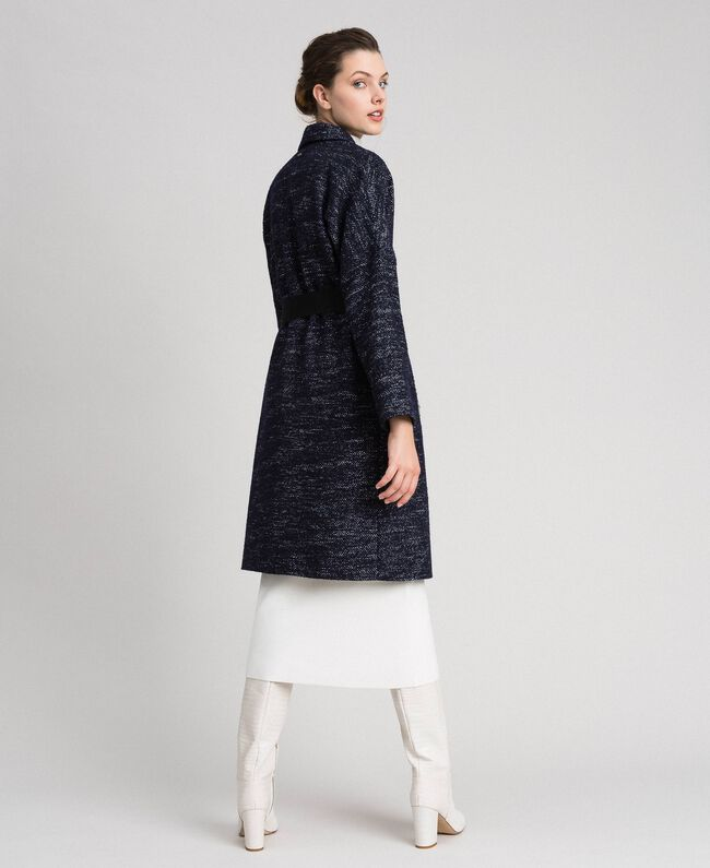 Manteau en drap à chevrons avec ceinture Jacquard Noir / Bleu Nuit Femme 192ST2100-03