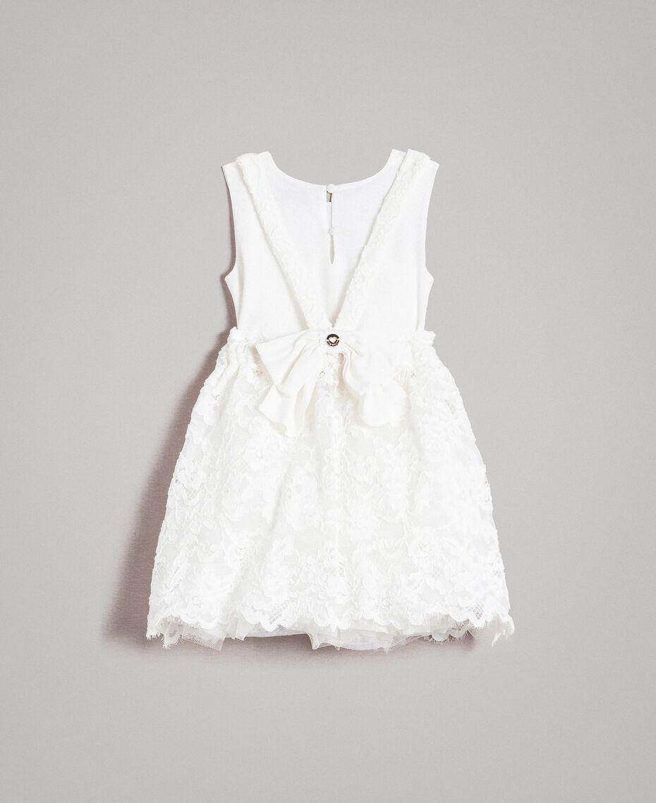 Vestido de encaje y crepé de China Hueso Niño 191GB2Q91-0S