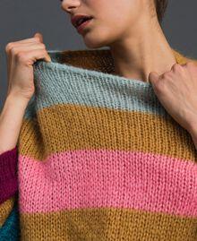 Maxipullover mit mehrfarbigen Streifen Irish Cream-Haselnussbraun Frau 192MP3221-05