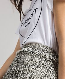 "Fringed tweed mini skirt Two-tone ""Snow"" White Bouclé / Black Woman 191TP2527-04"