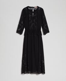 Georgette long dress with embroidery Black Woman 192TP2340-0S