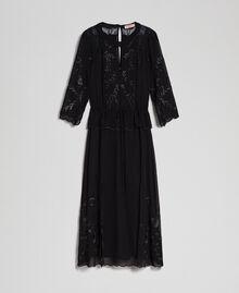 Robe longue en crêpe georgette avec broderies Noir Femme 192TP2340-0S