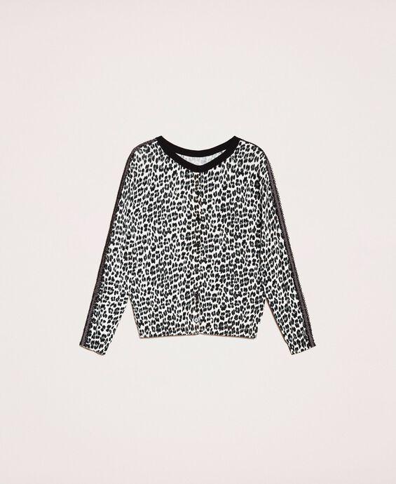Cardigan-Pullover mit Animal-Print