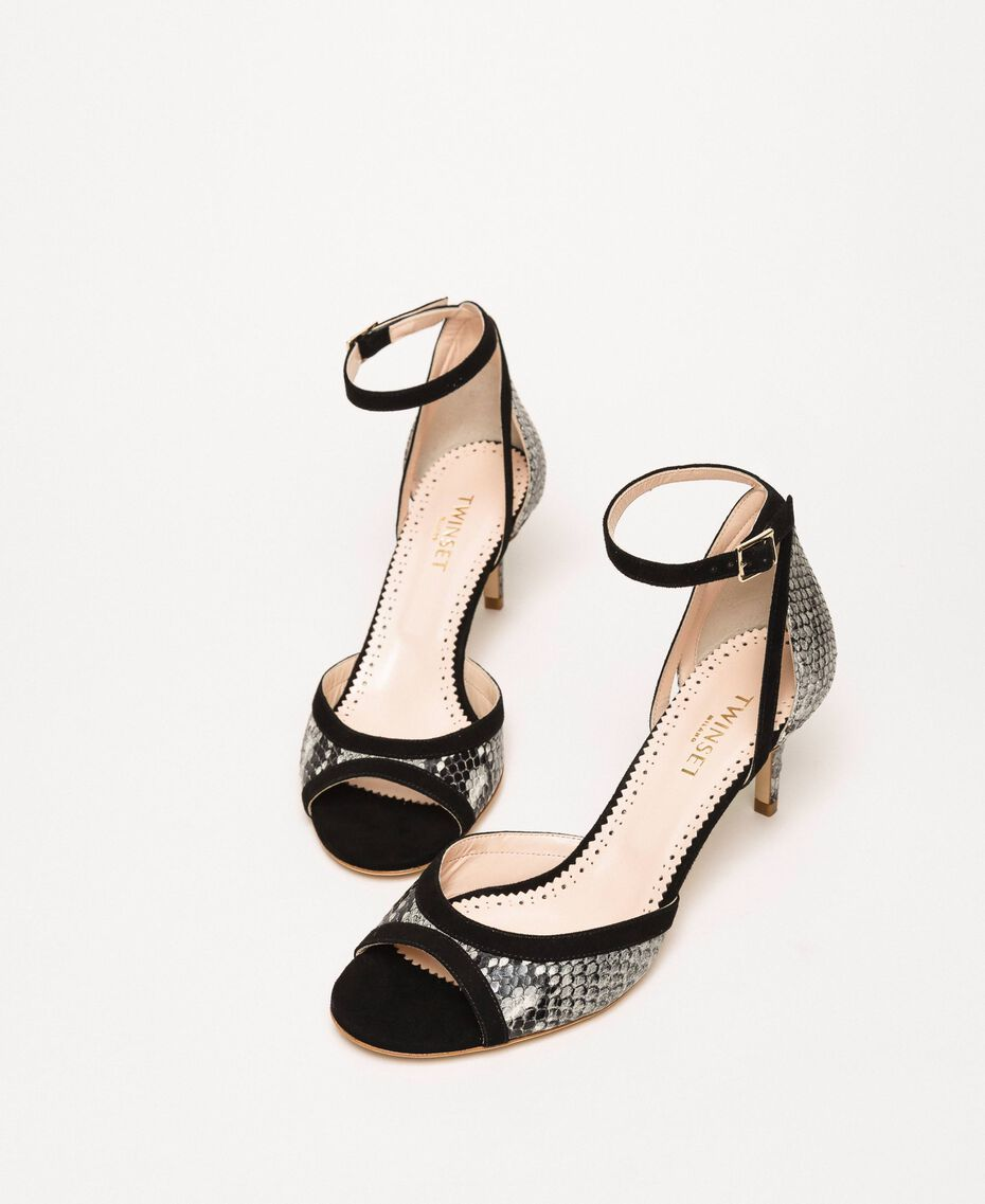 Leather sandals with python print Two-tone Pale Rock Python Print / Black Woman 201TCP022-03