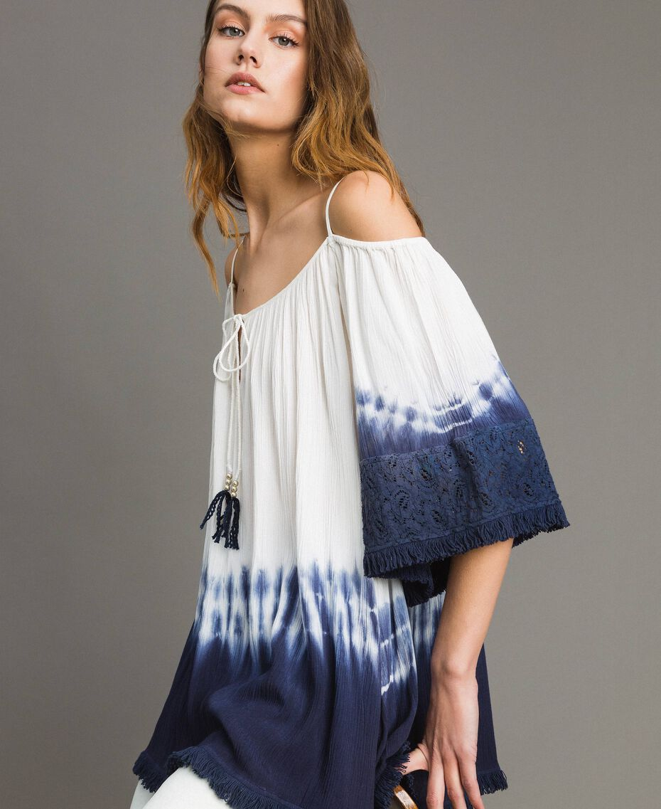 Tie dye blouse with macramé and fringes Two-tone Off White / Blunight Woman 191MT2320-01