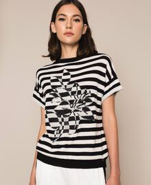 "Two-tone striped jumper with flower Black / ""Snow"" White Stripes Woman 201TP3221-05"