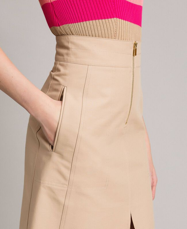 Technical cotton mid-length skirt Nougat Beige Woman 191TP2183-03