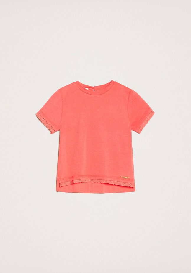 T-shirt with broderie anglaise embroidery