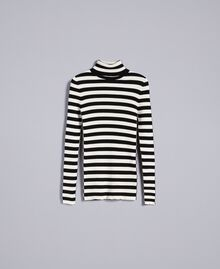 Pull col montant in viscose rayée Rayure Blanc Neige/ Noir Femme PA832E-0S