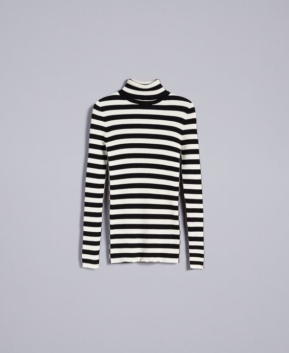 Striped viscose mock neck jumper