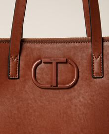 Vertical shopper with logo Leather Brown Woman 212TB7060-04