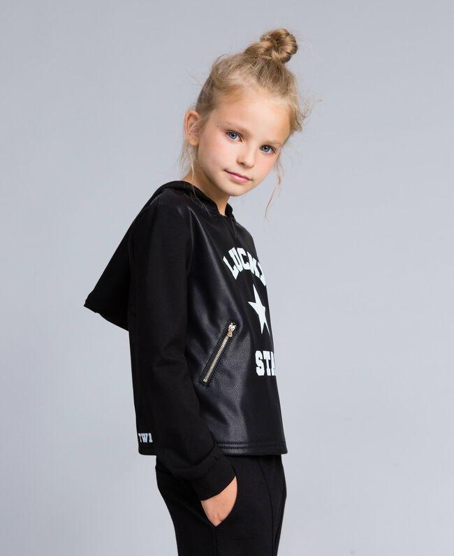 Sweatshirt aus Lederimitat und Interlock-Jersey Schwarz Kind GA82LV-03