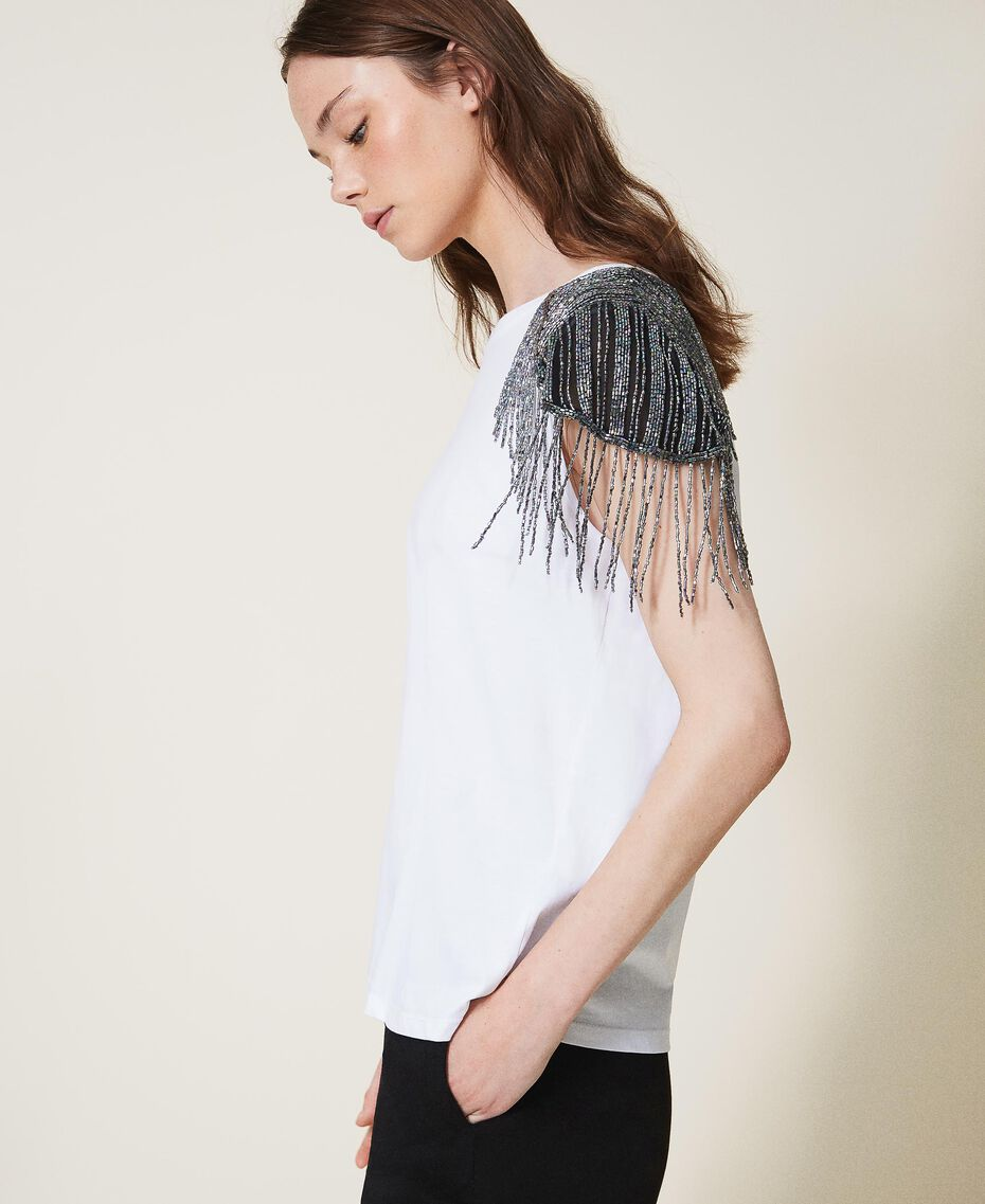 T-shirt avec tulle brodé et franges Blanc Femme 202TT246A-02