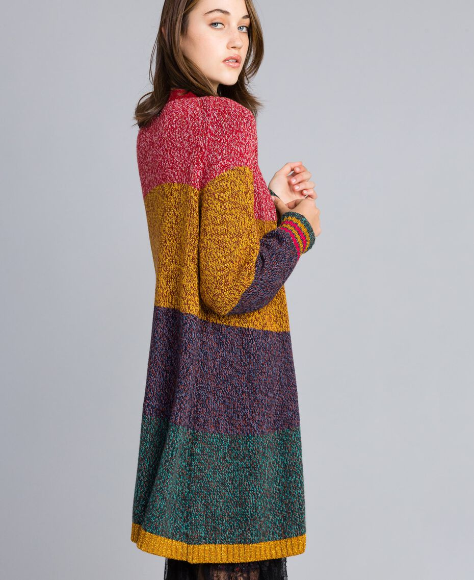 Maxi cardigan mouliné en color block Multicolore Mouliné Femme YA831A-02