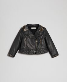 Faux leather biker jacket with studs Black Child 192GB2020-01