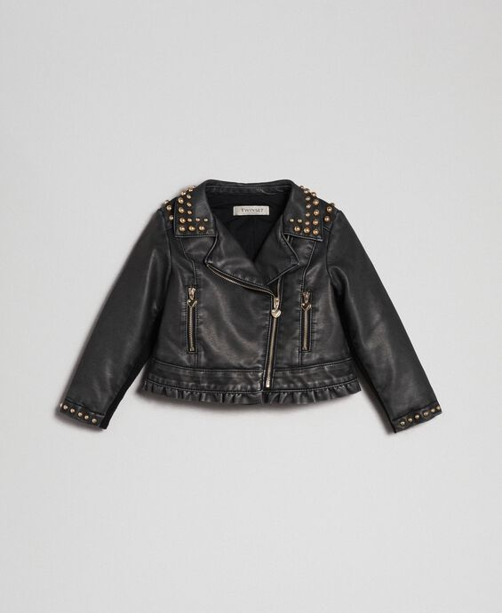 Faux leather biker jacket with studs