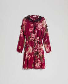 Floral print creponne shirt dress Beet Red Geranium Print Woman 192TP2728-0S