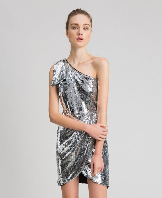 One-Shoulder-Kleid mit Allover-Pailletten