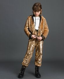 "Velvet bomber jacket with sequins ""Spelt"" Beige Child 192GJ2090-0T"
