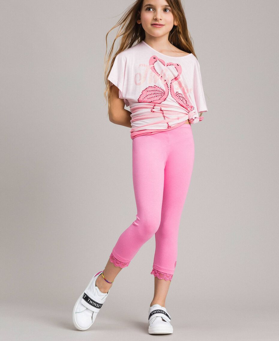 "Jersey leggings with lace ""Crystal Pink"" Child 191GJ2183-02"