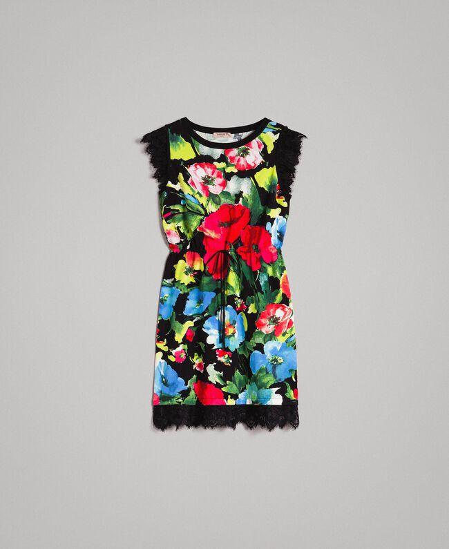 Patterned knit dress Macro Flower Black Print Woman 191TT3180-0S