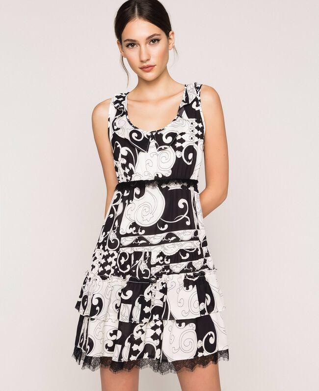 Мини-платье из набивного жоржета Принт Либерти Белый / Черный женщина 201ST213L-01