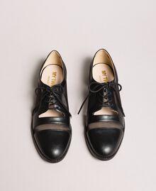 Туфли на шнурках из искусственной кожи и сетки Черный женщина 191MCP094-05