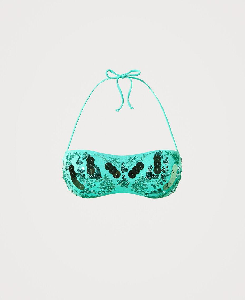 """Бюстгальтер-бандо бикини с пайетками Зеленый """"Флуоресцентная мята"""" женщина 211LMMN11-0S"""