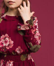 Robe en crêpe georgette avec imprimé floral Imprimé Rouge Betterave Géranium Enfant 192GJ2592-03