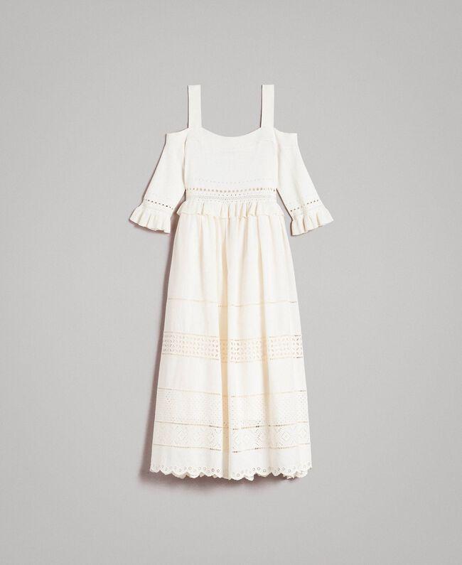 Gestricktes Broderie-Anglaise-Kleid Weiß Schnee Frau 191TT3013-0S
